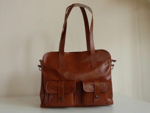 De Lauren-bag cognac: grote schoudertas