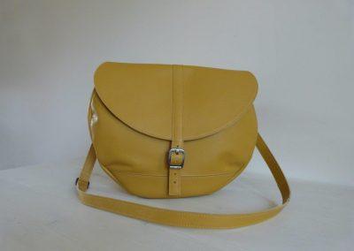 Gele tas gerecycled leer rond