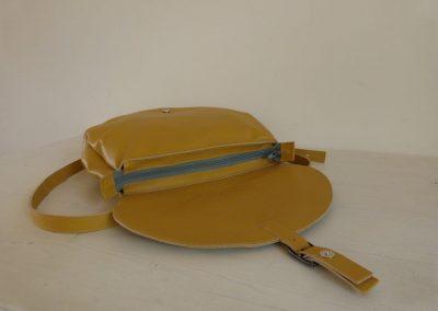 Gele tas gerecycled leer rond binnenkant