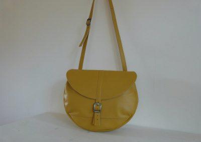 Gele tas gerecycled leer rond hengsel