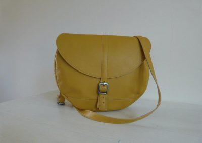 Gele tas gerecycled leer rond voorkant