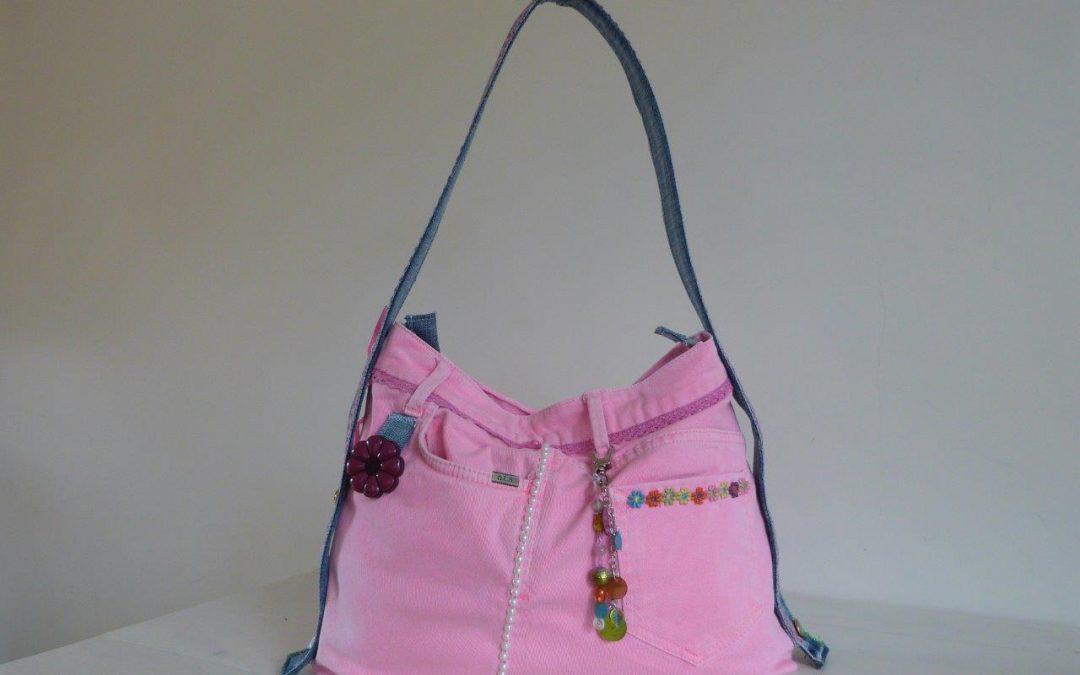 Roze jeans-meisjestas