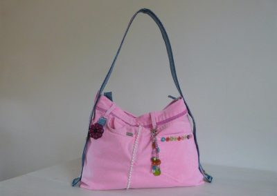 Roze tas gerecycled jeans