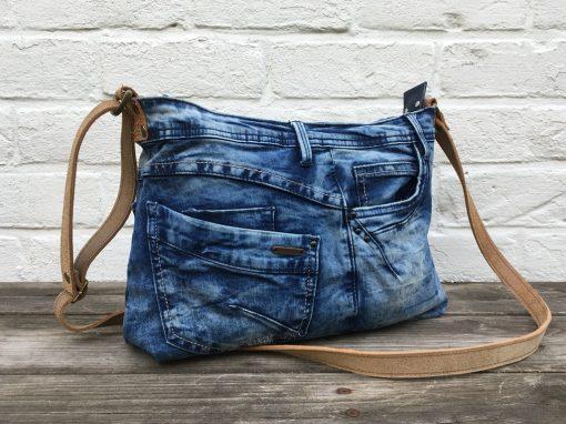 Ellizzbag jeanstas smalle leren band